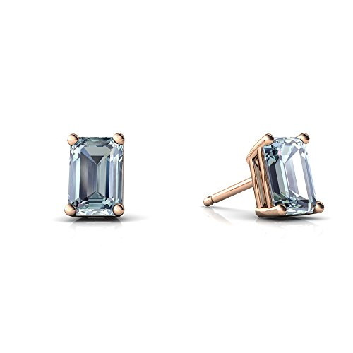 14kt Rose Gold Aquamarine 6x4mm Emerald_Cut Emerald-Cut Stud Earrings