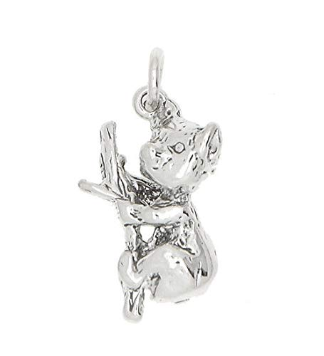 Silver Large Australian Tree Hugging Koala Charm OR Pendant Jewelry Making Supply Pendant Bracelet DIY Crafting by Wholesale Charms ()