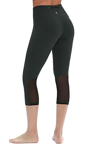 - icyzone Yoga Pants for Women - High Waisted Workout Leggings, Activewear Athletic Capris Exercise Tights (M, Dark Green)