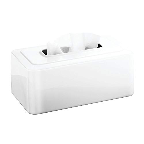 (mDesign Modern Metal Tissue Box Cover for Disposable Paper Facial Tissues, Rectangular Holder for Storage on Bathroom Vanity, Countertop, Bedroom Dresser, Night Stand, Desk, Table - White)