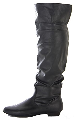 Ladies Womens Flat Winter Low Heel Over The Knee High Pull on Knee Boots Size Style 1 - Black Faux Leather