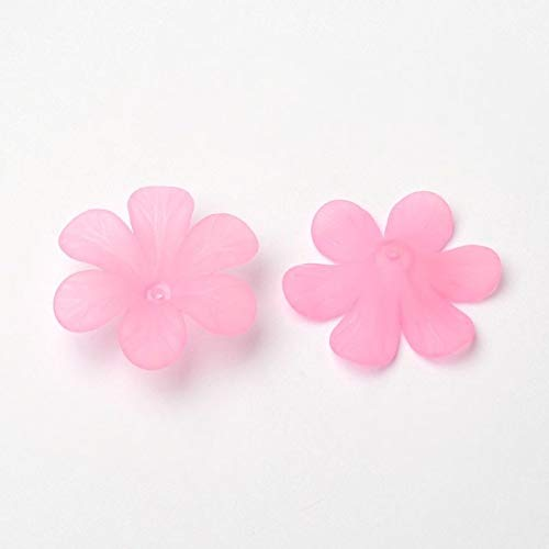 (50 x Pink Flower Frosted Clear Transparent Acrylic Beads for Jewelry DIY 33x8mm)
