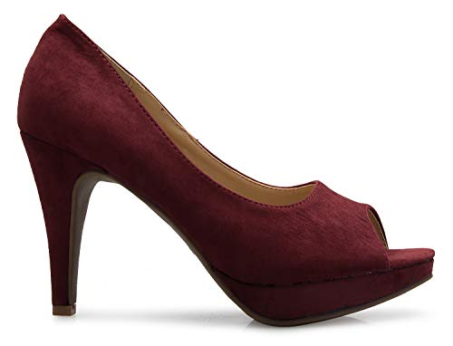 Comfortable Burgundy Pumps Toe Women ��s High Open Basic Suede Sexy K Heel Olivia US8nPWv8