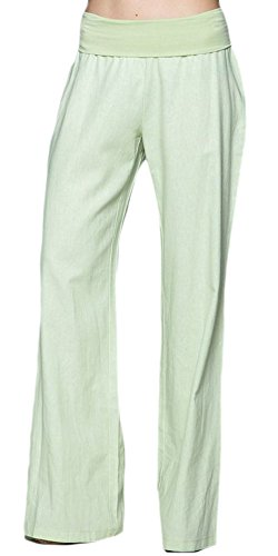 Love Tree Women's Fold-Over Waist Linen Pants, Mint, Large