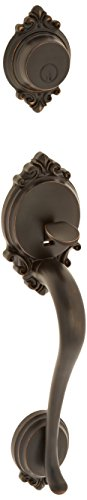 Schlage F92-BRK Brookshire Exterior Dummy Handle (Interior Side Sold Separately), Aged Bronze