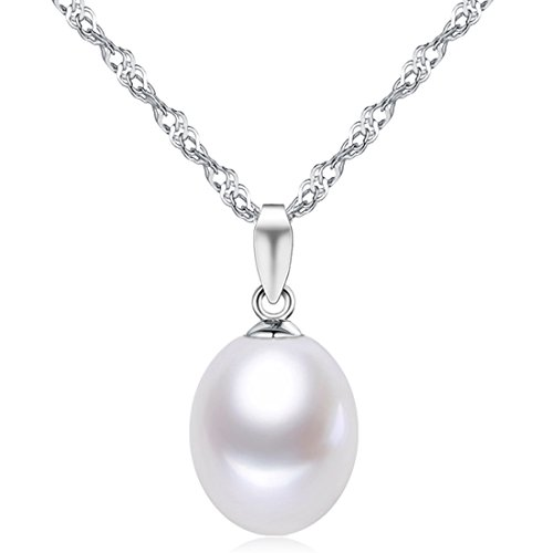 9 Pendant Sterling Silver Jewelry (Sterling Silver Freshwater Cultured White Tear Drop Pearl Pendant Necklace Jewelry Valentines Day Gifts for Women for Her)