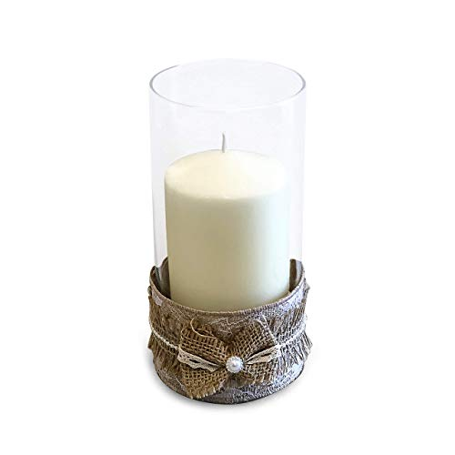 - Handmade Burlap Jeweled Bow Candle Holder With Ivory Pillar Unscented Candle, Clear Glass Cylinder Vase, Rustic Home Decor, Table Centerpiece