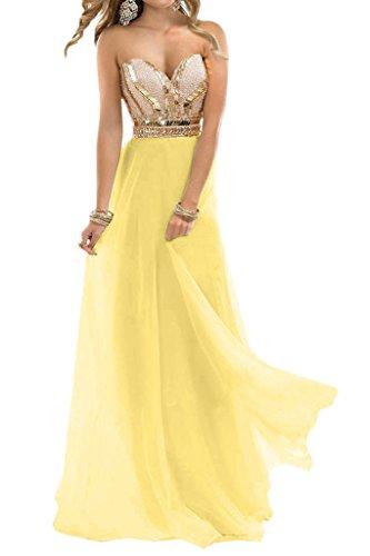 Hermosa novia de gasa en forma de corazón de la Toscana vestido de noche vestidos de bola vestidos de fiesta duro de larga duración amarillo