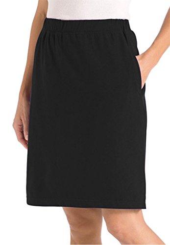 Women's Plus Size Stretch Cotton Skort Black,3X