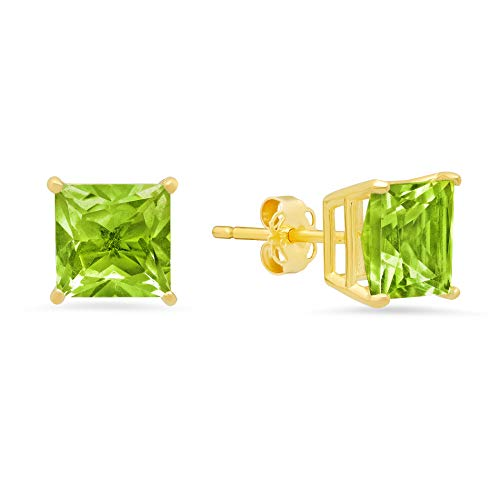 14k White or Yellow Gold Solitaire Princess-Cut Peridot Stud Earrings (7mm)