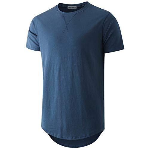 KLIEGOU Mens 100% Cotton Hipster Hip Hop Longline Crewneck T-Shirt Navy Blue XL(66)