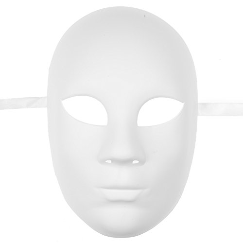 L.M.K Plain White Blank Decorating Craft Full Face Masquerade Mask Costome Party ()