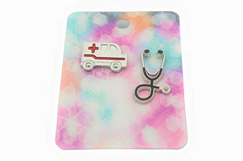 Medical Lapel Pin Brooch 2 Piece Set For Doctor Registered Nurse Medical Students Laboratory Technicians (Silver Ambulance and Stethoscope)