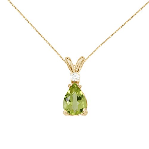 - 14k Yellow Gold Pear Shaped Peridot and Diamond Pendant with 18