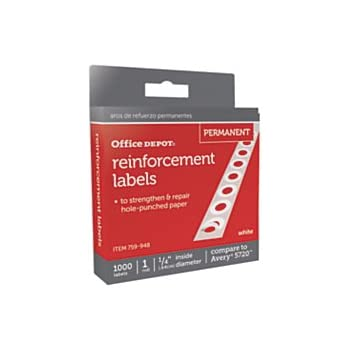 Office Depot Permanent Self-Adhesive Reinforcement Labels, 1/4in. Diameter,  White, Pack Of 1,000, 3585401843