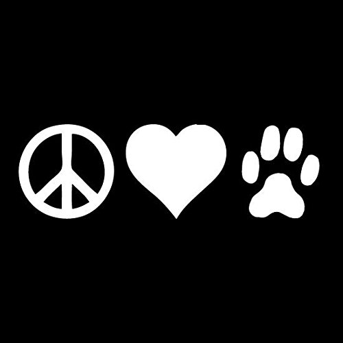 Dog Paw Print Peace Sign Heart Dogs Vinyl Decal Sticker|WHITE|Cars Trucks Vans SUV Laptops Wall Art|7.5