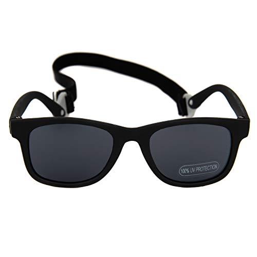Baby Solo Babyfarer Baby Sunglasses Safe, Soft, Adjustable and Adorable 0-24 Months (0-24 months, Matte Black Babyfarer Frame w/Solid Black ()