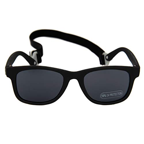 (Baby Solo Babyfarer Baby Toddler Sunglasses/Infant Newborn Sunglasses (0-24 months, Matte Black Frame w/Solid Black)