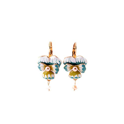 Vinty Jewelry Hand-painted Enamel Orchids Earrings For Women ()