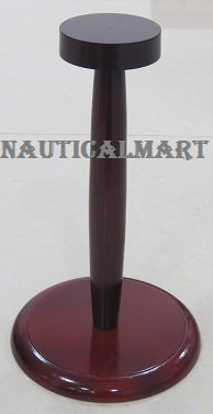 MEDIEVAL HELMET COLLECTIBLE WOODEN DISPLAY STAND IN CHERRY FINISH BY NAUTICALMART