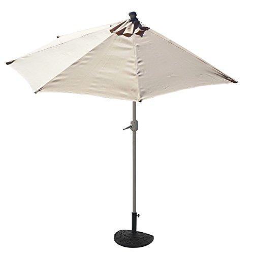 Sonnenschirm halbrund Parla, Halbschirm Balkonschirm, UV 50+ ~ 300cm creme mit Ständer
