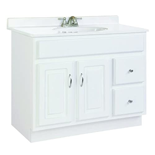 Design House 541052 Concord Ready To Assemble 2 Door/2 Drawer Vanity, White,  36 Inch By 21 Inch