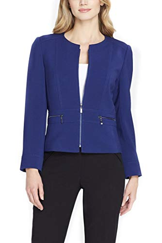 Tahari Brand - Women's Jewel Neck Zip-Front Ponte Knit Jacket - Mystic - Blue - 6