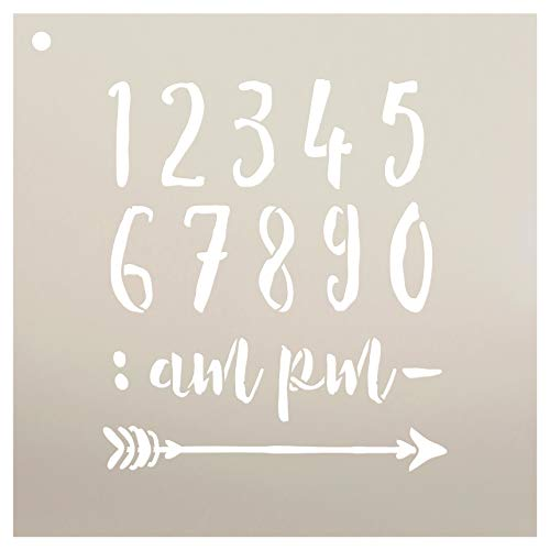 Wedding Sign Numbers - Numeral & Embellishment - Rustic Script Stencil by StudioR12   Reusable Mylar Template   Use to Paint Wood Signs - Pallets - DIY Wedding Decor - Select Size (10