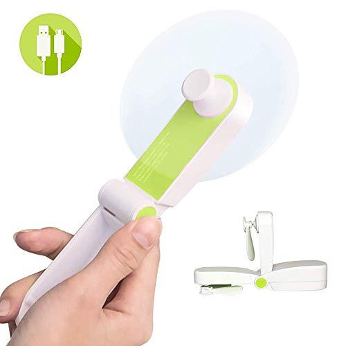 Personal Fan Handheld Foldable Fan Mini USB Desk Fan Portable Travel Fan Rechargeable Pocket Fan for Home, Office, Travelling, Two Speeds, Soft TPE Material, Green