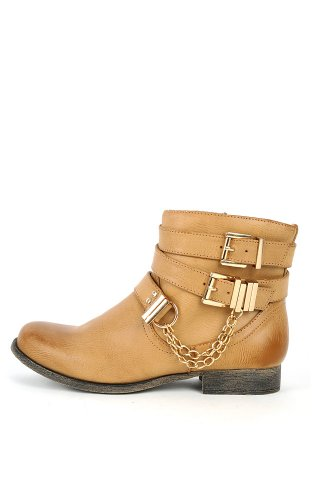Breeze Nature Light Ankle Tan Bootie Motorcycle Riding 12 Buckles Chains Women Prima Leatherette SpqdpF