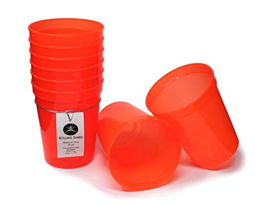 Rolling Sands 16oz Reusable Plastic Stadium Cups Translucent Orange (8 Pack, Made in USA, BPA-Free) Dishwasher Safe Plastic Tumblers