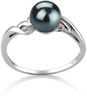 Black 6-7mm AAA Quality Japanese Akoya 14K White Gold Cultured Pearl Ring