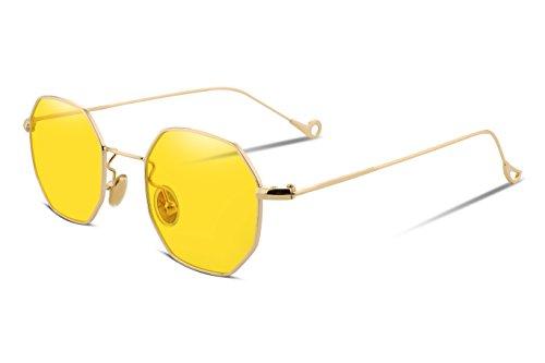 Gold Soleil De Frame Lunette Femme Feisedy Yellow Lens wqpFIfSfxE