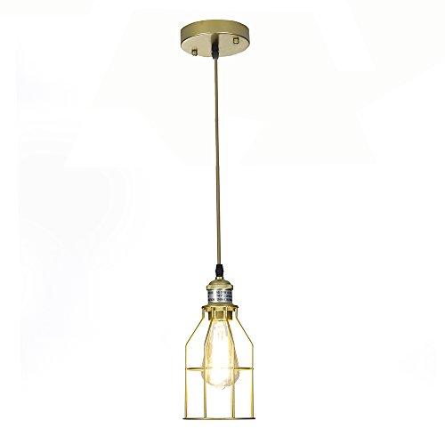 Light Basket 3 Hanging (Glanzhaus Vintage Art Deco Industrial Adjustable Metal Caged Golden Pendant Lighting, Iron Basket Hanging Ceiling Light Chandeliers Fixture for Kitchen Dinning Room)