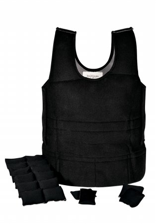 Abilitations Weighted 6 Pound Vest, 39 x 19 to 24 Inches, Black, Large