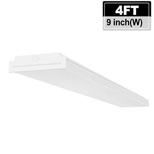e Lights Ceiling 4FT LED Wraparound Light, 6000 Lumens, 4000K Neutral White, 4 Foot LED Light Fixture Flush Mount Wrap Shop Light for Garage Workshop, Fluorescent Light Replacement ()