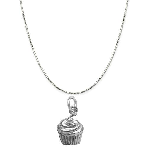 Raposa Elegance Sterling Silver Cupcake Charm on a Sterling Silver 18