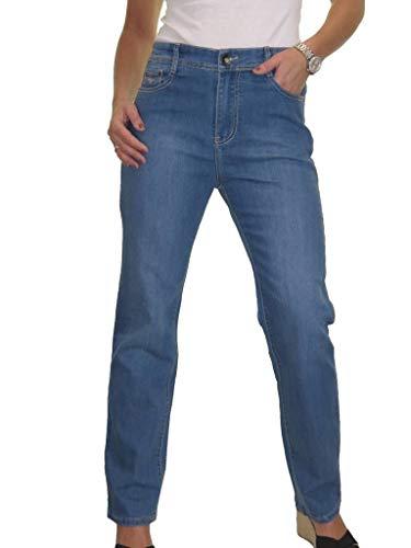 icecoolfashion High Waist Womens Plus Size Stretch Denim Straight Leg Jeans 14-24 Blue