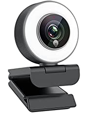 Streaming 1080P Webcam, Web Cam with Adjustable Ring Fill Light/Fast autofocus Web Camera for Xbox Gamer Facebook YouTube Streamer Compatible with Windows 10 Skype Mac
