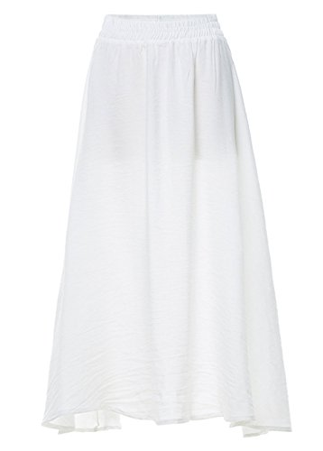 White Pleated Linen - Chartou Women's Plain Drape Stretch Waist Cotton-Linen Boho Pleated Flowy Midi-Long Skirt (White, X-Large)