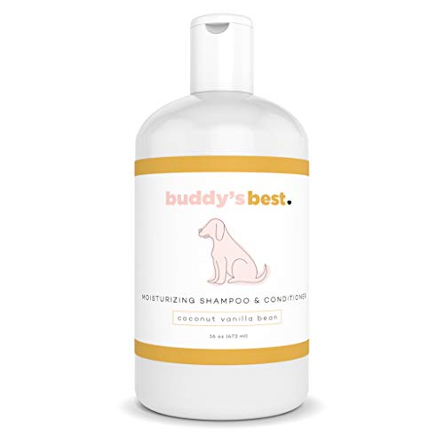 Buddy's Best Natural Coconut Vanilla Bean 2 in 1 Dog Shampoo Conditioner for Sensitive Skin - Anti-Itch Aloe Oatmeal, Moisturizing Shea Butter, with Added Biotin - Hypoallergenic - 16oz
