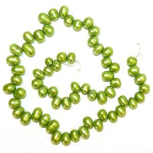 (Steven_store NP479 Green 7mm -10mm Cultured Freshwater Top-Drilled Rice Pearl Beads 15