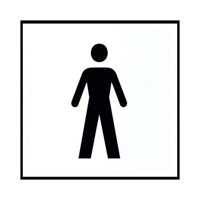 Attenzione Cartello Indicazione 15 X 15 Cm Con Simbolo Wc Uomo