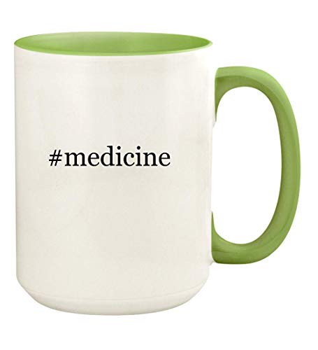#medicine - 15oz Hashtag Ceramic Colored Handle and Inside Coffee Mug Cup, Light Green
