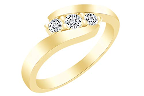 - Christmas Sale AFFY 1/4 Cttw Round White Natural Diamond Bypass Engagement Ring In 14k Yellow Gold Over Sterling Silver (0.25 Carat) Ring Size-5.5