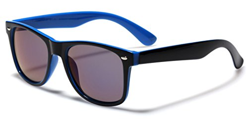 Classic Retro Fashion 2 Tone Sunglasses w/Color Mirror Lens Blue