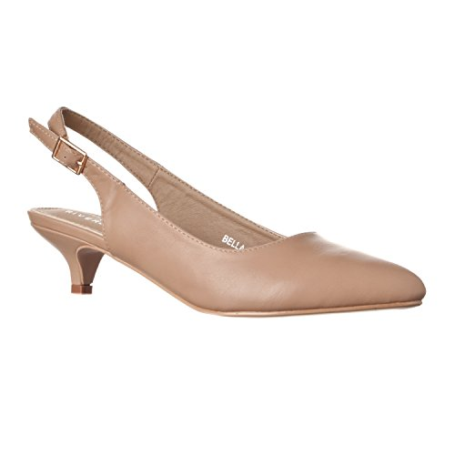 Ladies Slingback Shoe - Riverberry Women's Bella Pointed Toe Sling Back Low-height Pump Heels, Taupe PU, 10