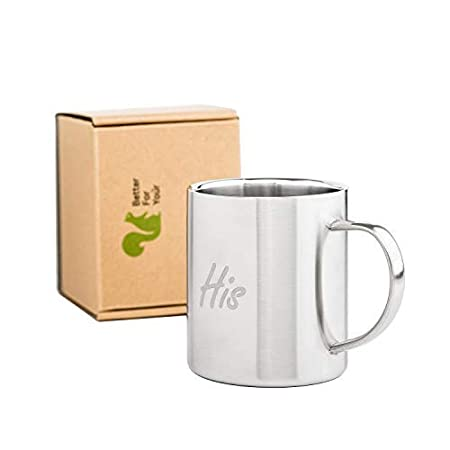 His /& Hers Coffee Mugs Stainless Steel Double Wall Freestyle Font Set of 2 Mugs