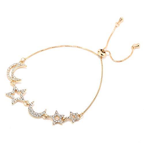 - Eran Fashions Moon Star Charm Bracelet Crystal Adjustable Bracelet for Women Girl in Gift Box