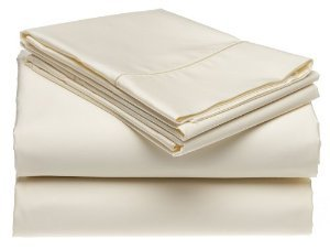 Solid Ivory 300 Thread Count Olympic Queen size Sheet Set 10